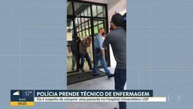 Técnico de enfermagem é preso acusado de estuprar paciente no Hospital Universitário da USP - A vítima disse que foi sedada e violentada quando tratava uma crise de fibromialgia.