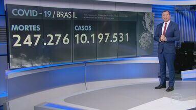 Brasil registra 716 mortes por Covid-19 em 24 horas - Média móvel de sete dias subiu para 1.055 óbitos diários, isso é 2% mais do que há 14 dias. Ao todo, 347.276 pessoas morreram de Covid no Brasil e mais de 10,1 milhões testaram positivo.