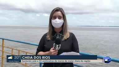 Santarém está a 22 centímetros da marca da maior cheia da região registrada em 2009 - Defesa Civil acompanha número da subida do rio na temporada de chuvas.