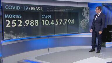 Brasil registra 1.327 mortes por Covid-19 em 24 horas - Média móvel de sete dias está em 1.148 óbitos diários, isso é 6% mais do que há 14 dias. Já a média móvel de casos continua subindo e agora está em 53.729 infecções diárias.