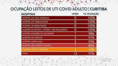 Paraná tem 108 leitos livres de UTI para adultos com suspeita ou confirmação de Covid - Metade dos leitos disponíveis estão na Macrorregião Leste.