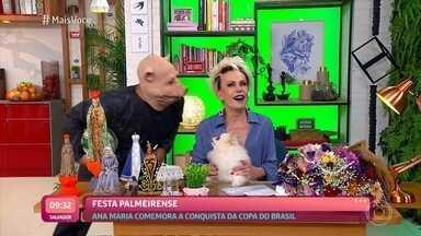 Ana Maria comemora título do Palmeiras na Copa do Brasil - Time homenageia apresentadora. Felipe Andreoli mostra imagens do jogo e também da aglomeração promovida pela torcida após o jogo