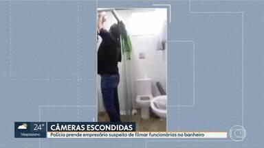 Homem é preso suspeito de filmar funcionárias no banheiro - Doze mulheres prestaram depoimentos na delegacia.Polícia descobriu três câmeras instaladas em banheiro feminino de lava a jato.