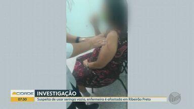Enfermeira suspeita de não aplicar dose da Covid em Ribeirão Preto é afastada - Vídeo foi registrado pelo filho de uma idosa na segunda-feira (8).