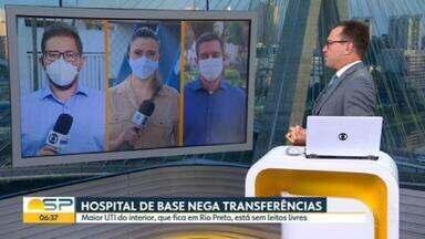 BDSP atualiza situação dos hospitais no interior do estado - Maior UTI-Covid do interior, em São José do Rio Preto, negou 90 pedidos de transferência apenas nesta quarta-feira.