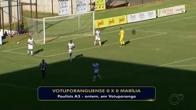 Votuporanguense e Marília empatam sem gols pela Série A3 - Votuporanguense e Marília empataram por 0 a 0, na tarde desta quarta-feira, em partida disputada na Arena Plínio Marin, em Votuporanga, e válida pela segunda rodada da Série A3 do Campeonato Paulista.