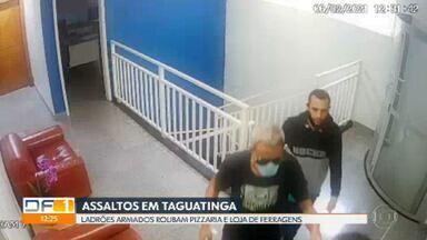 Ladrões armados assaltam lojas em Taguatinga - Polícia Civil pede ajuda para encontrar criminosos que, em fevereiro, renderam funcionários de uma loja de ferragens. Ontem (11/03), uma pizzaria em Taguatinga Sul também foi assaltada.