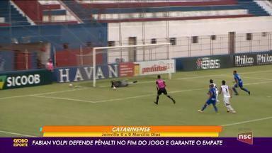 Fabian Volpi defende pênalti e Joinville x Marcílio Dias fica no 0 x 0, em Brusque - Fabian Volpi defende pênalti e Joinville x Marcílio Dias fica no 0 x 0, em Brusque
