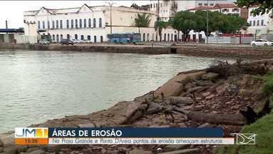 Chuvas e a força da maré estão agravando um problema na orla de São Luís - Na Praia Grande e Ponta D'Areia pontos de erosão ameaçam estruturas.