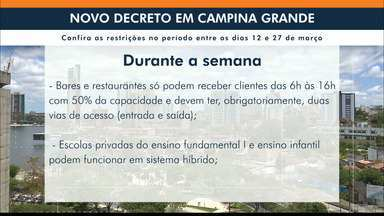 Novo decreto de Campina Grande fecha comércio, restaurantes e bares nos fins de semana - Decreto com medidas restritivas passa a valer nesta sexta-feira (12) até 27 de março.