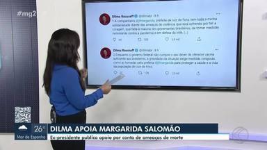 Após sofrer ameaça de morte, prefeita de Juiz de Fora recebe apoio da ex-presidente Dilma - Caso é investigado pela Polícia Civil e nesta semana Margarida Salomão prestou depoimento.