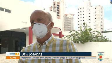 Hospital de Clínicas atinge 100% de ocupação da UTI pela 3ª vez, em Campina Grande - Governo da Paraíba ampliou a capacidade em mais 10 leitos de UTI, na tentativa de não colapsar.