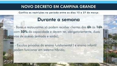 Publicado novo decreto em Campina Grande com medidas restritivas - Mudança foi divulgada após aumento de casos de Covid-19.
