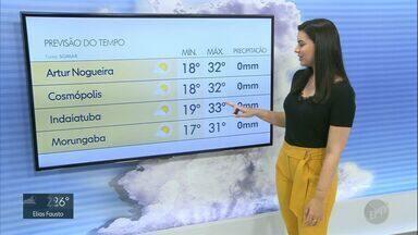 Região de Campinas tem sol e calor neste domingo (21); confira previsão - Campinas (SP) terá mínimas de 18ºC e máximas de 32ºC.