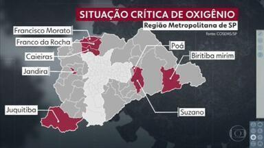 115 cidades paulistas têm situação crítica de abastecimento de oxigênio - O alerta é do Conselho de Secretários Municipais de Saúdo do Estado de São Paulo. Oito desses municípios são da região metropolitana.