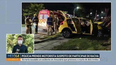 Polícia prende motorista suspeito de racha em Araucária - Ele teria causado um acidente em Araucária que provocou a morte de dois irmãos, no fim de fevereiro