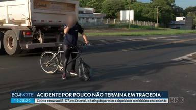 Ciclista é atingida por moto e depois bate em caminhão - Acidente foi na BR-277, em Cascavel.