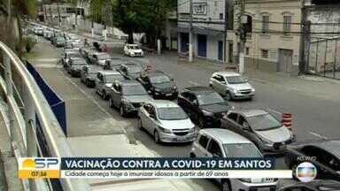 Vacinação de idosos com idade entre 69 e 71 anos começa em Santos - Prefeitura diz que 15% da população da cidade já foi imunizada.