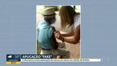 """Polícia de Itatiba investiga vacinação """"fake"""" na cidade - Vídeo foi gravado pela família de um idoso de 87 anos."""