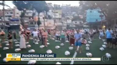 Comunidades se unem pra arrecadar e distribuir alimentos - No Jardim Ibirapuera, apenas 10% das famílias cadastradas consegue receber ajuda.
