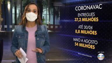 Butantan negocia com a Sinovac a antecipação da entrega de 54 milhões de vacinas - Essas doses estão previstas para serem entregues entre maio e agosto. De acordo com o diretor do Instituto Butantan, Dimas Covas, a Sinovac vai inaugurar uma terceira fábrica na China.