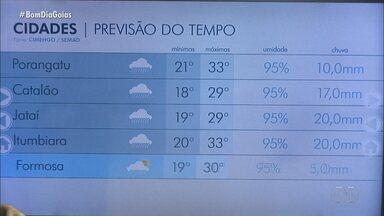 Veja a previsão do tempo para as cidades de Goiás - Alerta de chuva continua para Goiânia.