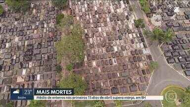 Média de enterros nos primeiros 15 dias de abril supera março, em BH - Números refletem a gravidade da pandemia na capital.