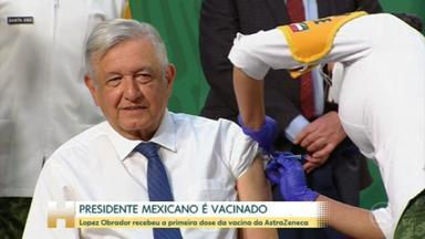 Presidente do México toma primeira dose da vacina contra Covid-19 - Andrés Manuel Lopez Obrador, de 67 anos, recebeu o imunizante da AstraZeneca.