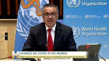 Em duas semanas, mundo registra mais casos de Covid-19 que nos primeiros seis meses de pandemia - Diretor-geral da OMS diz que Brasil e Índia responderam por mais da metade de todos os casos confirmados, na semana passada, em todo o planeta.