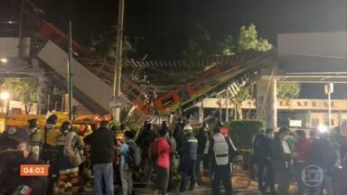 Trem do metrô cai durante desabamento de viaduto no México - Um trem do Metrô da Cidade do México descarrilou e despencou após um viaduto desabar na noite desta segunda-feira (4), deixando mortos e feridos. Autoridades informaram preliminarmente que ao menos 20 pessoas morreram e outras 49 ficaram feridas.