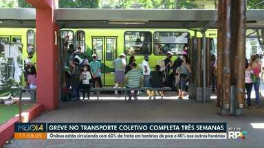 Greve no transporte coletivo de Foz do Iguaçu completa três semanas - Ônibus estão circulando com 60% da frota em horários de pico e 40% nos outros horários.