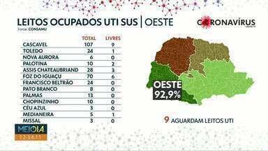 Taxa de ocupação de leitos na macrorregião oeste é de 92,9% - Em Cascavel, não foi registrada nenhuma morte por Covid nas últimas 24 horas.