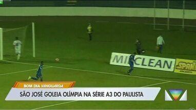 São José goleia Olímpia e entra na zona de classificação do Paulista da Série A3 - Lucas Formiga, Alan Lopes, Gilsinho e Santiago marcaram os gols da Águia; Alex Júnior descontou para o Galo Azul