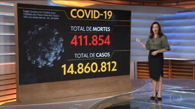 Brasil passa de 411 mil mortos por Covid-19 - Números de vacinados com a segunda dose supera os 16 milhões. Apenas 7,9% da população brasileira.