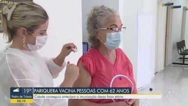 Pariquera-Açú começou a vacinar os idosos com 62 anos contra a Covid-19 - Prefeitura garantiu que não faltará a segunda dose da vacina.