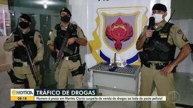 Homem é preso por tráfico de drogas em Montes Claros - Ele vendia drogas ao lado de posto policial.