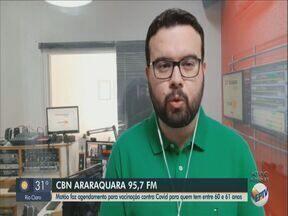 Matão inicia agendamento para vacinação contra Covid de pessoas entre 60 e 62 anos - Rafael de Paula, da CBN Araraquara, tem mais informações.