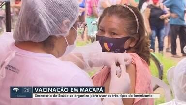 Macapá define organização para aplicações de 3 vacinas: AstraZeneca, CoronaVac e Pfizer - Capital concentra maior parte da população e aplicação da maior parte das doses recebidas pelo estado.
