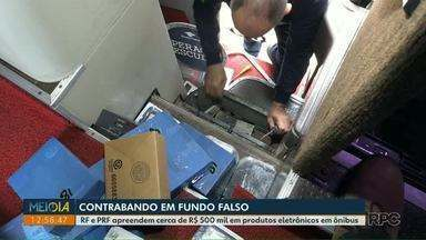 Receita Federal e PRF apreendem cerca de R$ 500 mil em produtos eletrônicos em ônibus - Mercadoria contrabandeada estava no bagageiro do ônibus.