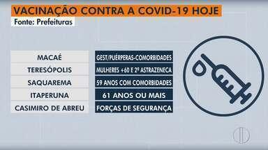 Vacinação contra a Covid em Macaé, Teresópolis, Saquarema, Itaperuna e Casimiro de Abreu - Veja se já chegou sua vez de se vacinar na sua cidade.