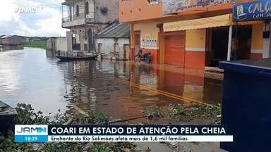 Coari entra em estado de atenção por conta da cheia - Enchente do Rio Solimões afeta mais de 1,6 mil famílias