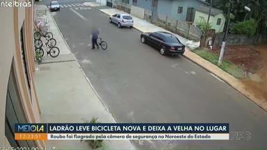 Ladrão leva bicicleta nova e deixa a velha no lugar - Roubo foi flagrado por câmera de segurança em Quarto Centenário.