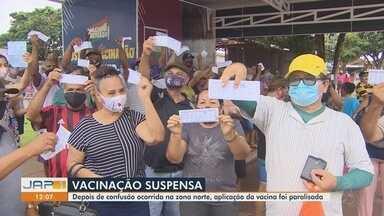 Após tumulto em busca da 2ª dose da CoronaVac, prefeitura fecha drive-thru em Macapá - Após tumulto em busca da 2ª dose da CoronaVac, prefeitura fecha drive-thru em Macapá