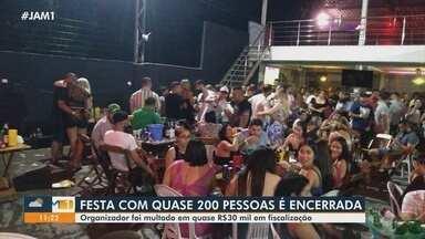 Organizador de festa com cerca de 200 pessoas é multado em quase R$ 30 mil em Manaus - Responsável pelo evento clandestino e outros cinco adolescentes foram conduzidos a delegacia.