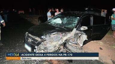 Acidente deixa 4 feridos na PR-170 - Colisão entre dois carros aconteceu na noite de domingo.