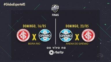 Grêmio fazem a final do Gauchão nos próximos dois domingos; veja os horários - A primeira partida será no Beira-Rio e o Grêmio decide em casa.