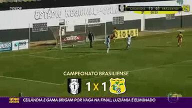 Ceilândia e Gama brigam por vaga na final; Luziânia é eliminado - Ficou para a última rodada a decisão do segundo finalista do Candangão 2021. O Gama venceu o Luziânia neste domingo, por 3 a 1, e evitou a eliminação antecipada. Porém, a vantagem segue com o Ceilândia, que acabou com a campanha 100% do Brasiliense, mas ficou apenas no empate em 1 a 1 com o Jacaré e não conseguiu garantir a vaga na final.