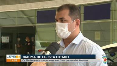 Hospital de Trauma de Campina Grande tem todos os 298 leitos ocupados - Ala Covid do hospital também precisou abrir leito extra.