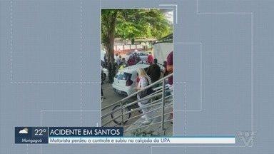 Motorista perde controle de carro e invade calçada da UPA Central de Santos - Testemunhas disseram que motorista passou mal e desmaiou enquanto dirigia.