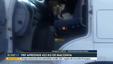 PRF apreende mais de 400 quilos de maconha na região de Cornélio Procópio - Ao verificar a documentação do caminhão e do motorista, os policiais encontraram irregularidades.
